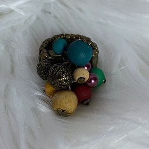 Wooded bead elastic fashion ring